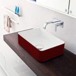 Red & White Ceramic Wash Basin