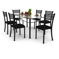 c6efb5436ee 6 Seater Glass Dining Table Set