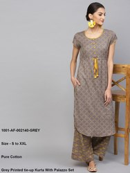 Grey Printed Tie-Up Kurta With Palazzo Set