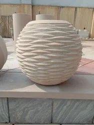 Beige Sandstone Round Planter