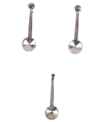 Silver Diamond Studded Pendant and Hanging Earrings