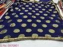 Navy Blue Embroidered Georgette Saree, Size: Free Size
