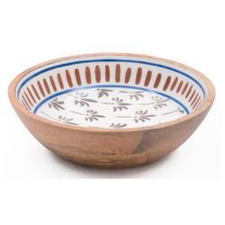 Handcrafted Wood Enamel Serving Bowl