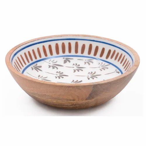 Handcrafted Wood Enamel Serving Bowl