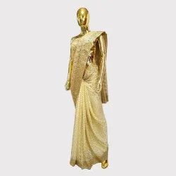 Lemon Yellow Designer Net Saree