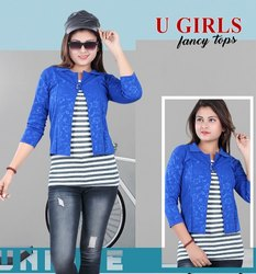 Party Wear 3/4th Sleeves Ladies Coat Model Tops, Size: M