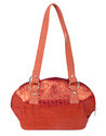 Cotton Jacquard Floral Self Weaved Peach Hand Bag