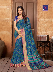 Shangrila Collection Kanjivaram Silk Blue Saree- 2390