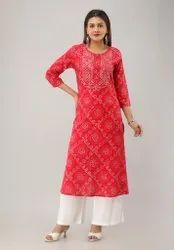 Round Neck Jaipuri Bandhani Print Cotton Kurtis