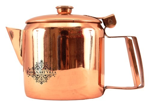 Indian Art Villa Steel Copper steel with copper plated tea pot kettle with lid, IAV-CC-13-107