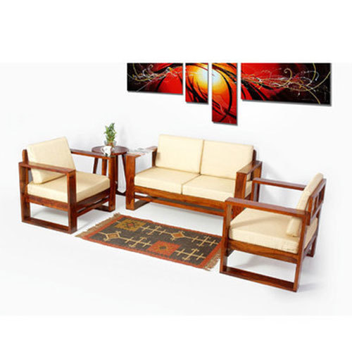 Off White Sheesham Wood Sofa Set With Removable Cushion Covers