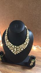 Festive Wear 22 K Jadtar Gold Necklace Set, 35g
