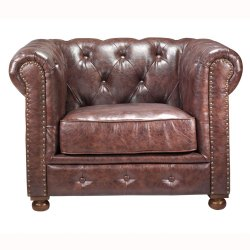 Soni Chesterfield Leather Tufted Single Seating Sofa
