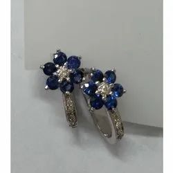 Sterling Silver Earring with Diamond & Blue Sapphire