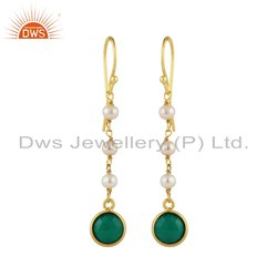 Pearl and Green Onyx Gemstone Gold Plated Silver Dangle Earrings