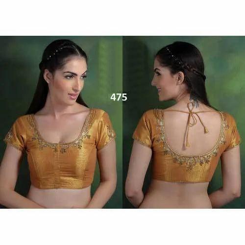 9f947582ce940 Silk Party Wear Golden Dori Design Blouse