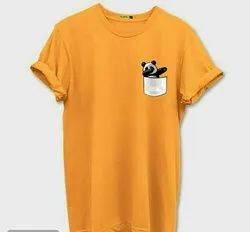Cotton Yellow Men's T-shirt, Size: M L XL