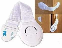 Baby Safety Drawer & Door Strap Locks / Multi-Places Use, Adjustable Latches, Push Button (White)