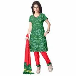 Green and Red Color Fancy Design Gaji Silk Dress Material