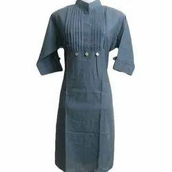 3/4th Sleeve Ladies Cotton Plain Kurti, Handwash, Size: S-XL