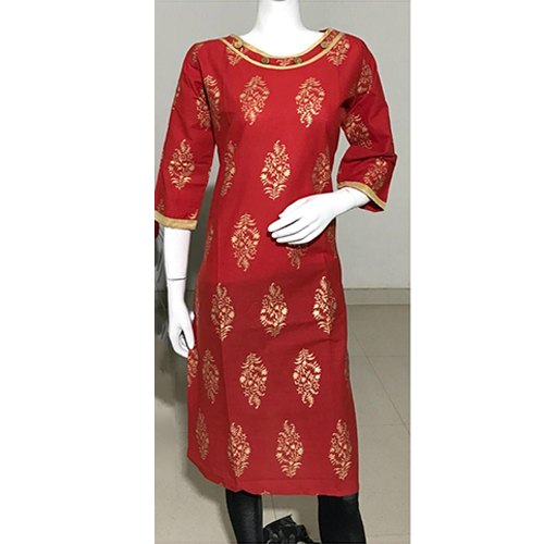 Party Wear L to XXL Red Gold Printed Cotton Kurti