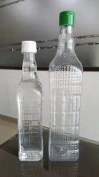 Square Oil Bottles PET Transparent with Flip Top Cap, Capacity: 1 Ltr