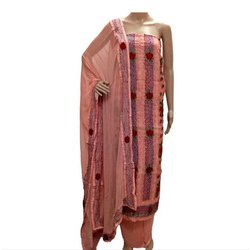Sahej Party Wear Ladies Pink Chanderi French Knot Embroidered Suit