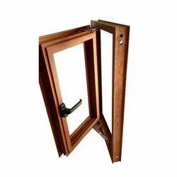 Brown Office Wooden Hinged Window