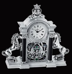 Silver-Plated Clock with 2 Horse