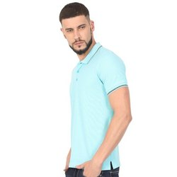 Mens Aqua Blue Collar Neck T Shirts