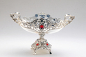 Silver Plated 7 Fruit Basket with Stand and Red Stone Small Size-FB1008S