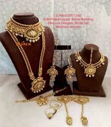 Golden Traditional Wedding Necklace Set, Size: 30 Cm