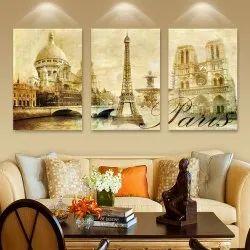 Modern Art Multicolor Digital Wall Painting, Shape: Rectangular, Size: 12x18