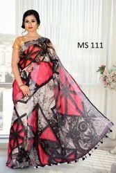 High Quality Digital Print Linen Saree