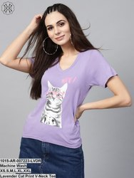 Lavender Cat Print V-Neck Tee