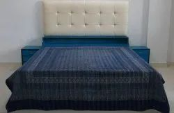 Ajrakh Block Print Kantha Quilt Handmade Indian Cotton Bedspread