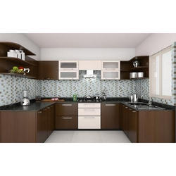 Brown U Shape Modular Kitchen