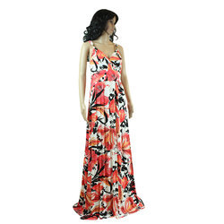 Party Polyester And Spandex Ladies Fancy Gown