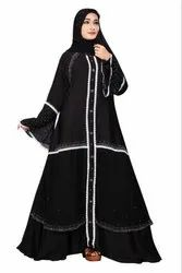 Black Color Nida Chiffon Abaya Burkha With Chiffon Dupatta For Women