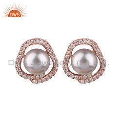 Cubic Zirconia Pearl Rose Gold Plated Silver Stud Earrings