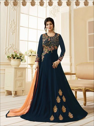 ab0ef5365d Georgette Navy Blue Embroidered Indian Ethnic Party Wear Anarkali Suit