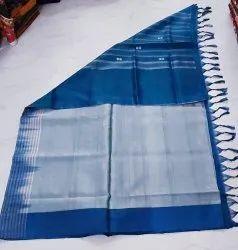 5.5 m (separate blouse piece) Plain Banana Fibres Silk Cotton Sarees, With Blouse Piece