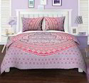 Pink Purple Ombre Mandala Quilt Duvet Printed Cover