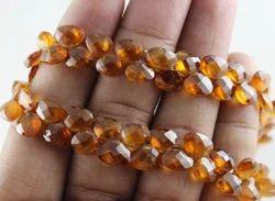 Hessonite Garnet Heart Shape Faceted Beads