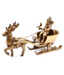 Brown Kratidecor Ganesha on Deer Cart Brass Decorative Showpiece