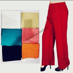 Regular Fit Red Chikan Embroidery Palazzo Pants