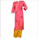 Adorvii Womens Rose Pink Cotton Kurti With Yellow Palazzo