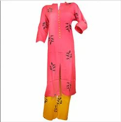 Adorvii Womens Rose Pink Cotton Kurti With Yellow Palazzo