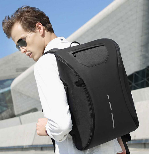 Leather Black Fully Open USB Laptop Backpack, For Office