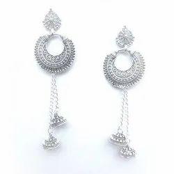 Brass Oxidized Silver Plated Earrings